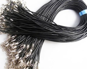 100pcs 17--19inch adjustable Real Leather Black Necklace Cord 3.0mm