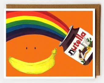 Nutella Cards, Nutella Lover, LGBT Gift, Funny BFF Cards, Blank Cards, Gay BFF, Boxed Cards, Nutella Birthday, Dessert Lover, Rainbow