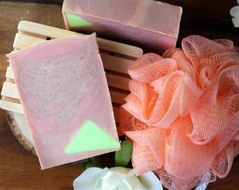 Guava soap, spring soap, cold process soap, coconut oil, palm oil free, vegan friendly, fruity soap, olive oil, pink soap,