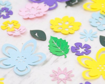 Spring Confetti - Floral Table Confetti - Wedding Confetti - Baby Shower Flower and Leaf Confetti - Party Decorations - Wedding Decorations