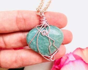 Amazonite Heart New Beginnings Necklace