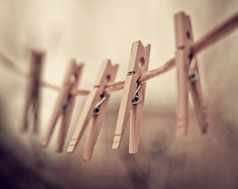 clothespins photography / clothes pin, rustic, earth tones, neutral tones, laundry, clothesline, brown, still life / family of five
