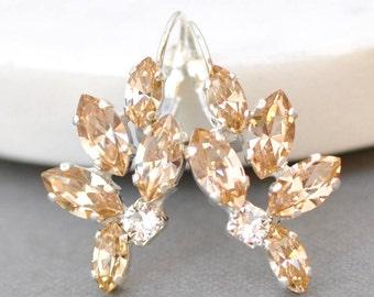 Champagne Bridal Earrings Rose Gold Swarovski Crystal Light Silk Leverback Marquise Drop Cluster Earrings Wedding Jewelry Bridesmaid Bride