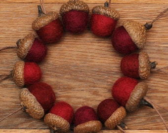 Red Felted Acorn Ornaments Set of 12 also available without hangers