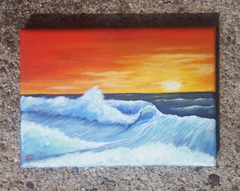 Sunset Beach Waves Painting