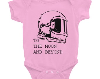 To the Moon and Beyond Space Infant Onesie Bodysuit Pink Grey and White