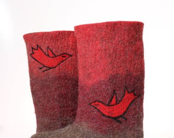 Felted wool slippers boots red braun-organic wool felt boots-boiled wool shoes-valenki-house shoes -women slippers-with rubber sole
