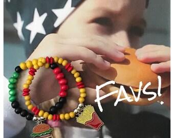 Wooden 6mm Bead Girls' Bracelet Hamburger Charm or French Fries Charm