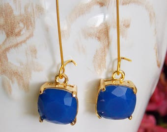 Gold Royal Blue Earrings, Sparkle Wedding Jewelry, SeneSister Earrings, Royal Blue Glass Earrings, Gold Jewelry, Anniversary Gift for Her