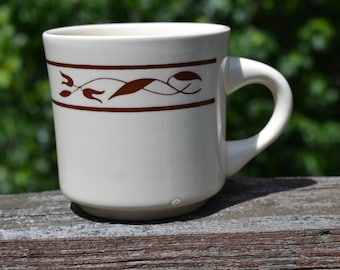 Vintage Restaurant Coffee Mug. Oxford Restaurant Ware. Beige with Brown Border.  Diner Coffee Cup.  Made in Brazil  VCMS180
