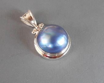Balinese sterling silver genuine ocean Mabe Pearl Pendant / silver 925 / Bali handmade jewelry / (#270K)