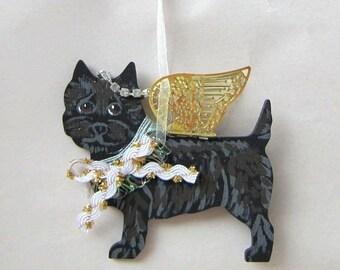 Hand-Painted CAIRN TERRIER BLACK Metal Wing Angel Wood Christmas Ornament.....Artist Original