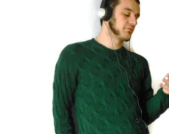 Mens knitwear, Aran knit sweater, men mystery sweater Pure Merino wool, handknitted cable stitch sweaters, made to order sweater gift
