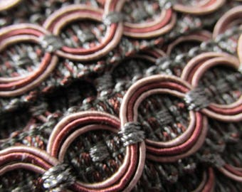 Pewter Gray, Brick Red, and Taupe Circle Patterned 3/4 inch Fancy Braided Decorator Gimp Trim