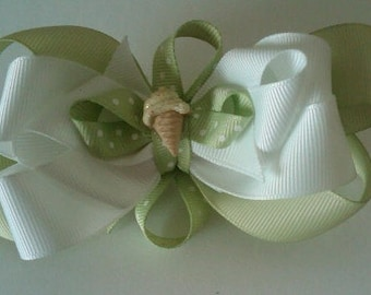 Layered Boutique Hair Bow with Resin Ice Cream Cone