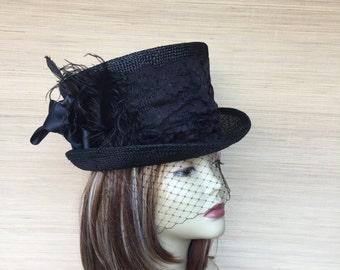 Black Top Hat, Straw Top Hat, Women's Top Hat, Top Hat With Veil, Victorian Top Hat, Mad Hatter, Kentucky Derby, Steampunk Top Hat
