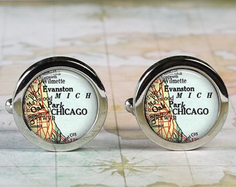 Chicago Illinois cuff links, Chicago map cufflinks wedding gift anniversary gift for groom groomsmen gift for best man Father's Day gift