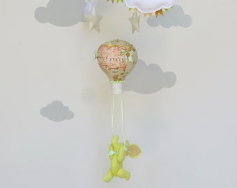 Hot air balloon elephant baby mobile/Adventure nursery/Hot air balloon mobile/Elephant in balloon mobile/Travel nursery/Girl mobile balloon