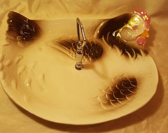 Made in USA Vintage Ceramic Hen Serving Platter, Chicken, Rooster, Barnyard, Easter, Tray, Farmhouse, E4