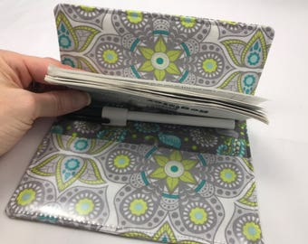 Duplicate Checkbook Cover with Pen Holder - Duplicate Checkbook Register - Fabric Checkbook Cover Bloom Henna Blossom in Gray