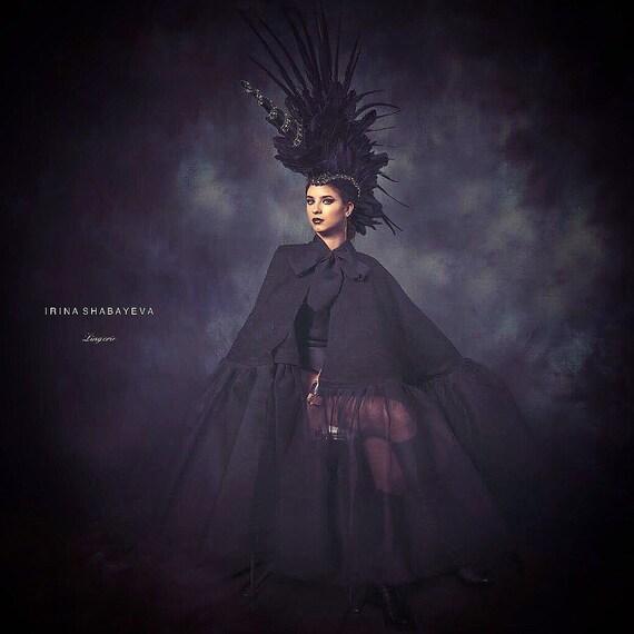 Irina Shabayeva lace cape with tulle trim .