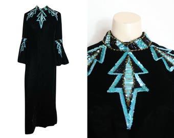 60s Long Black and Aqua Sequinned Dress.