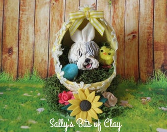 Old English Sheepdog Bunny in Easter Egg READY to SHIP! One of a Kind hand sculpted by Sally's Bits of Clay