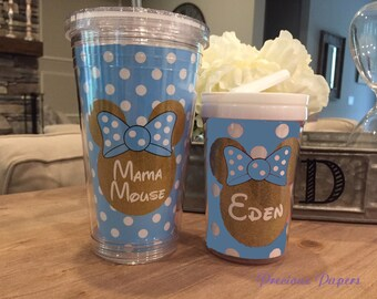 Personalized blue and gold Minnie Mouse kids cup with a lid and straw - Blue and gold Minnie Mouse personalized cups - Minnie Mouse kids cup