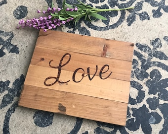 Love Sign, Scrap Wood, Found Wood, Wedding Sign, Baby Sign