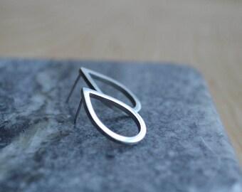 Sterling Silver Teardrop Stud Earrings   Sterling Silver Ear Studs