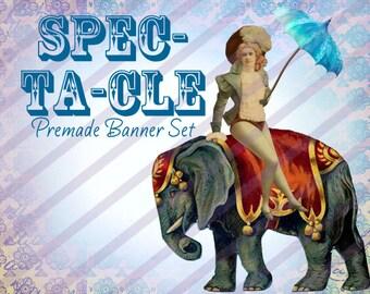 """Premade Shop Banner Set - Premade Etsy Banner Set - Etsy Shop Banner - Avatar - Facebook - """"Spectacle"""" Banner set"""