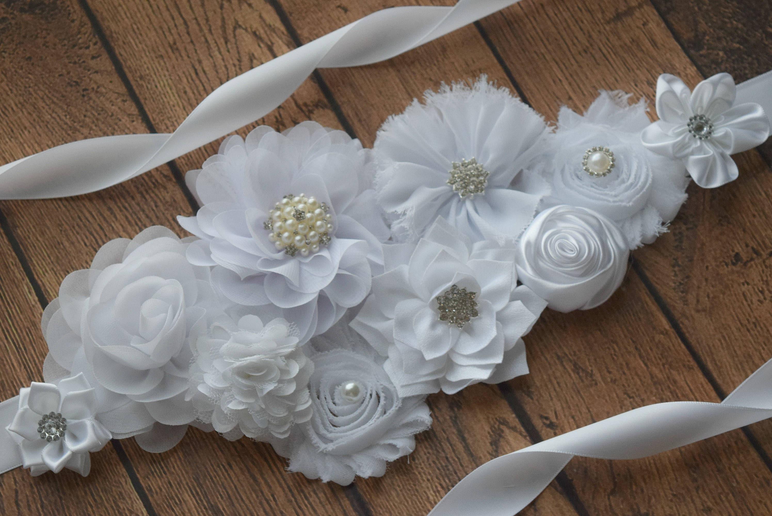 Marco de flor blanca faja blanca 2 flor correa maternidad