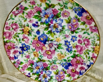 Floral Staffordshire Bone China Cup and Saucer with gold trim