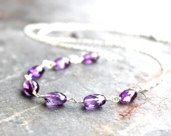 Amethyst Necklace Strand Purple Amethyst Jewelry Sterling Silver, Semi Precious February Birthstone