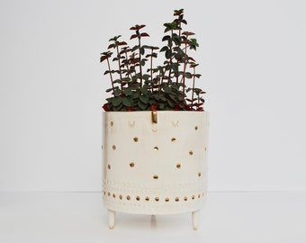 Face tripod planter pot // white & gold dots // extra large