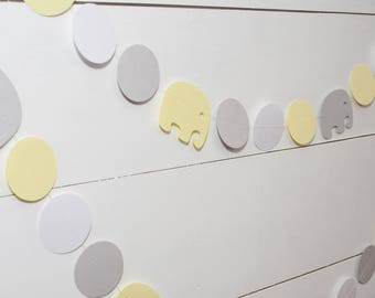 Elephant Baby Shower Decorations -  14' Paper Garland - Gender Neutral Baby Shower - Yellow and Gray