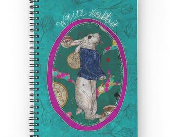 Follow the White Rabbit, Spiral Notebook, White Rabbit Notebook, Alice in Wonderland Notebook, Whimsical, Journal, Diary Book, Art Planner