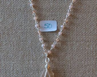 Peach seed bead necklace with sea glass pendant #50