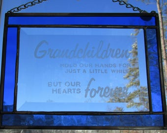 Stained Glass, Etched,  Sun Catcher - Grandchildren Hold our Hands - Hand Crafted - Sapphire Blue