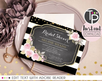 BRIDAL SHOWER Invitation, Instant Download Bridal Shower Invitation, Bridal Invitation, Floral invitation, Edit yourself with Adobe Reader