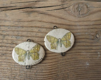 Ceramic connector -pendant butterfly.Ceramic handmade
