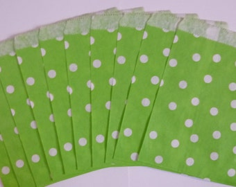 "25 Lime Green with White Polka Dot Paper Treat Bags- Baby Shower Bitty Bags- Bridal Shower Gift Bag- Candy, Treats, Utensil Baggy- 5"" x 7"""