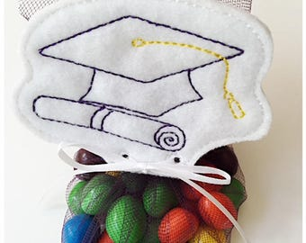 Graduation Cap Treat Topper Tag Machine Embroidery Files in pes, dst, exp, vip, jef, hus and vp3 Formats - Instant Download