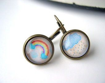 Pretty rainbow and rain cloud earrings sweet lolita feminine leverback