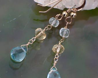 Aquamarine Earrings, March Birthstone, Multi Gem Earrings, Prosperity, Clarity & Courage, Gemstone Earrings, Dangle Earrings