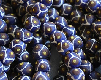 African Sandcast Beads from Ghana, Blue with Brown, Yellow, & White Designs - ASC-059