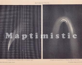 1898 Comet Images observed of Donatis Comet from October 1858 Original Antique Print