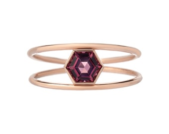 Double Band Ring, Hexagon Ring, Double Ring, Stacking Ring, Mothers Ring, Birthstone Ring, Garnet Ring, Gemstone Ring, Gold Ring, Ring,Nixin