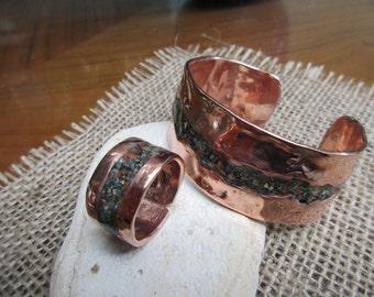 Mardi Gras Inlay Copper Cuff Bracelet.  Bracelet and  Cuff Ring Combo.