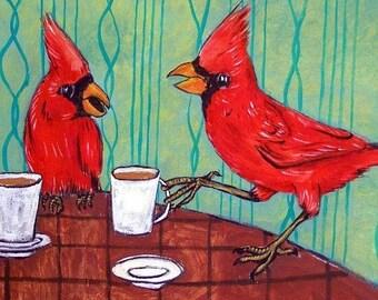 25% off Cardinals at the Cafe Coffee Shop Bird Art Tile Coaster